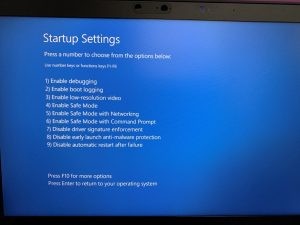 windows startup setting